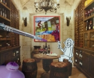 Here I am in my imaginary excellent wine cellar. Isn't it formidable? Don't be jealous, I'm allergic to wine...more for you!
