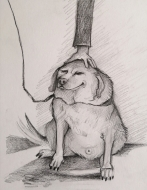 Good Dog! (2021), Pencil on Paper, 9 x 8 inches, $100