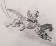 Squirrel! (2021), Pencil on Paper, 7 x 9.5 inches, $100