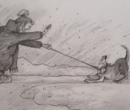 To Talk or Walk (2021), Pencil on Paper, 7 x 10 inches, $100