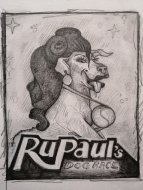 RuPaul's Dog Race (2021), Pencil on Paper, 7.5 x 6 inches, $100
