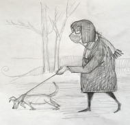 A Walk in Withrow Park (2021), Pencil on Paper, $100