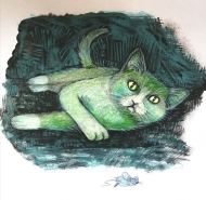 Green Cat (2021), Pencil on Paper, 7 x 7 inches, $100