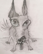 Crazy Doggy Love (2021), Pencil on Paper, 8 x 7.5 inches, $100