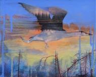 """Loon Lake"" acrylic & collage on wood 10""x 10' SOLD"
