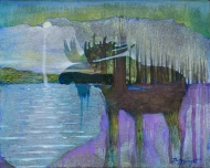 """""""Moose Night"""" acrylic & collage on wood  10"""" x !0"""" Sold"""