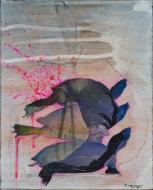 """""""Basking Turtles"""" acrylic & collage on wood"""